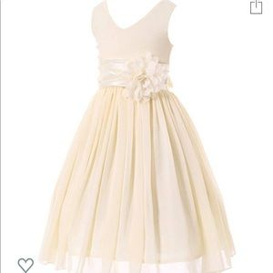 Bow Dream jr bridesmaid v neck chiffon dress
